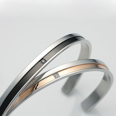 Pure stainless ペアバングル [One-line-bangle] MAZE-BG002 (asu)